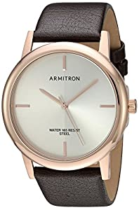 Armitron Men's Quartz Stainless Steel and Leather Dress Watch, Color:Brown (Model: 20/5140SVRGBN)