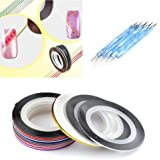 28 Color Nail Art Stripe Striping Tape Line Decoration Sticker 5 X 2 Way Marbleizing Dotting Pen