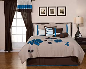 8 Pieces Oversize Blue and Brown Flower Comforter/bed-in-a-bag Set Queen Size Bedding