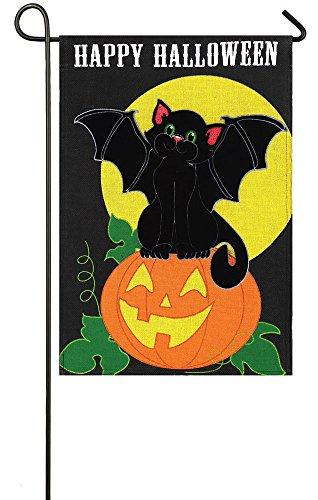 Evergreen Burlap Bat Cat Halloween Garden Flag