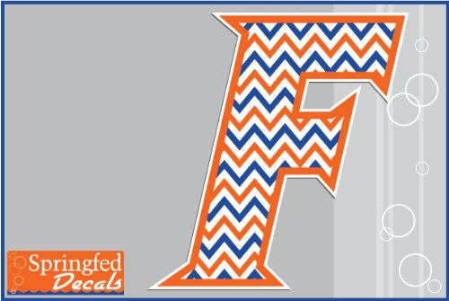 "Florida Gators Chevron Striped Block F Logo #2 4"" Vinyl Decal Uf Car Truck Window Sticker"