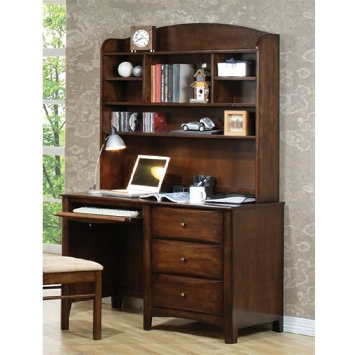 Buy Low Price Comfortable Phoenix Collection Bedroom Furniture Computer/Student Desk with Hutch in Rich Deep Walnut Finish – C (B003XRA5SE)
