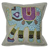 Lalhaveli Applique Handmade Patchwork Cotton Cushion Cover 16 Inches 1 Pc - B00MY07NHW