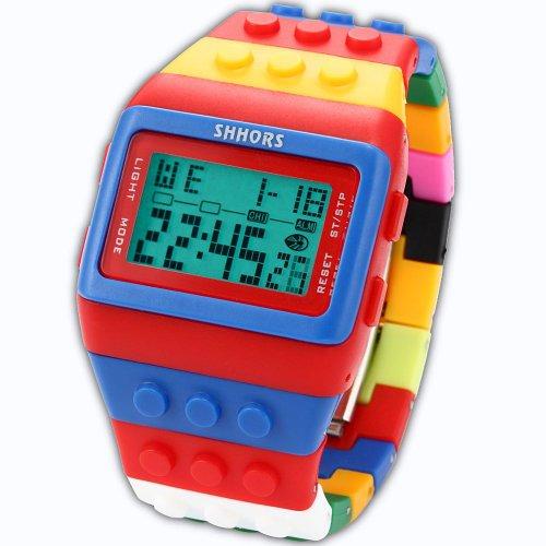 SHHORS Block Silicone LCD Digital Light Men's Ladies Sport Wrist Watch Red Blue LED090