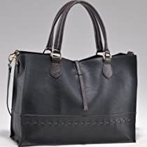Hot Sale Designer Inspired On-the-go tote w/ inside attached quilted Handbag Black/Coffee Trim
