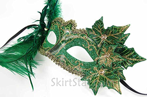 Women's Poison Ivy Fairy Nymph Mask with Leaves Green