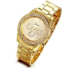 buy Lancardo Luxury Men'S Women'S Gold Stainless Steel Quartz Rhinestone Wrist Watch With Gift Bag