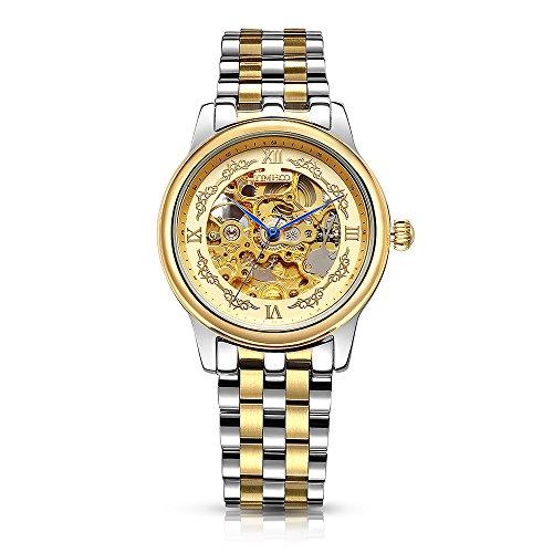Time100 Orologio uomo scheletrato a vista acciaio oro-argento, lucidato a mano,elegante#W60015G.01AN