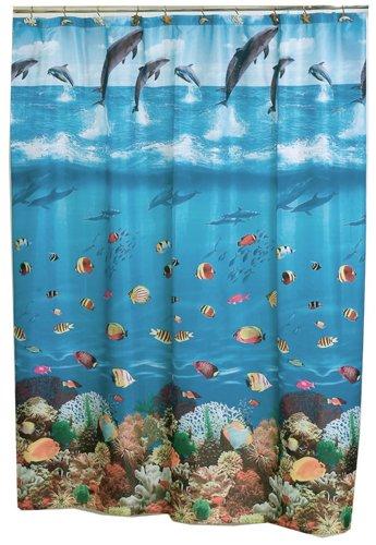 Carnation Home Fashions 6 Feet By 6 Feet Fabric Shower Curtain, Seascape