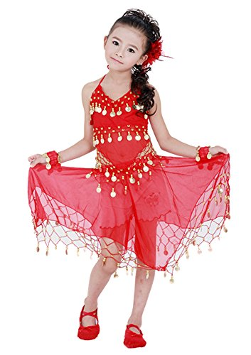 AvaCostume Girl's Professional Belly Dance 4-Piece Set Gold Coins