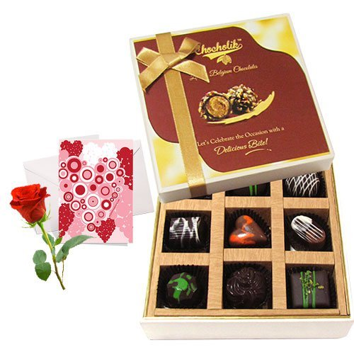 Wonderful Treat Of Love Chocolates With Love Card And Rose - Chocholik Luxury Chocolates