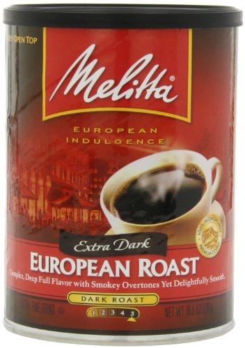 Melitta Coffee, European Roast Ground, Extra Dark Roast, 10.5-Ounce Cans (Pack of 4)