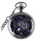 WOLFTEETH懐中時計 ポケットウォッチ 両面スケルトン 機械式 手巻き ローマ数字 アンティーク チェーン付き 時計 ブルー