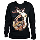 Women's Forget Me Not by Susana Alonso Tattoo Pocket Pullover Sweatshirt Black