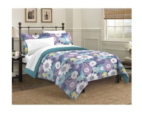 New Bed Bag Twin Full Queen King 3 Pc Blue Purple Floral Sunflower Comforter Set front-995224