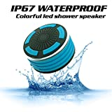 KONG KIM IPX7 100% Waterproof & Dust-proof Floating Bluetooth Shower Speaker Compatible with all Bluetooth devices including iPhone 6, 6s, and Samsung devices Color Black & Blue