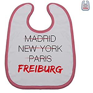 Städte & Länder Baby - Weltstadt Freiburg - Baby-Latz Lätzchen Weiß mit Rosa oder Blau für Jungen und Mädchen