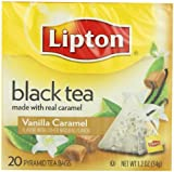 Lipton Black Tea, Vanilla Caramel, Premium Pyramid Tea Bags, 20Count Boxes (Pack of 6)