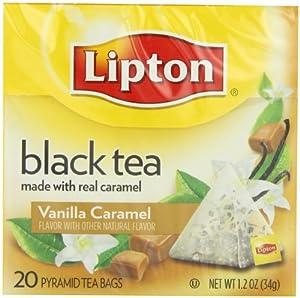 Lipton Black Tea, Vanilla Caramel, Premium Pyramid Tea Bags, 20Count Boxes (Pack of 6)