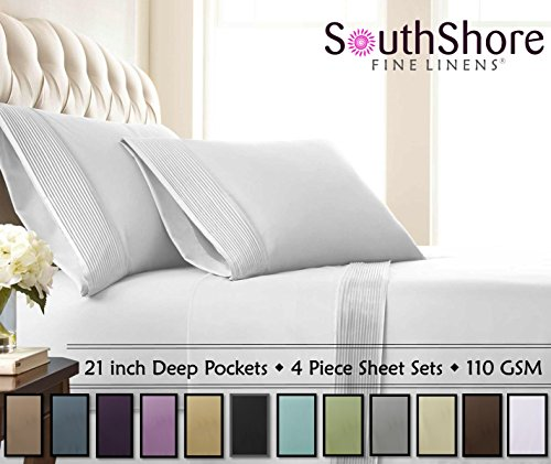 Southshore Fine Linens - 4 Piece - Extra Deep Pocket Pleated Sheet Set , QUEEN , BRIGHT WHITE (Extra Deep Sheets compare prices)