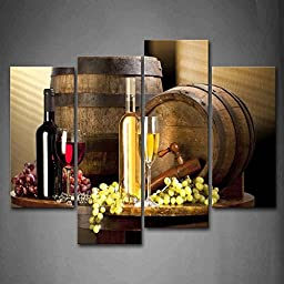 Various Wine With Grape Wall Art Painting Pictures Print On Canvas Food The Picture For Home Modern Decoration