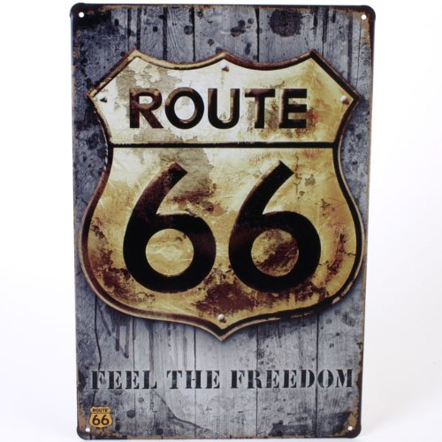 Route 66-Feel The Freedom retrò-Targa in metallo 20 x 30 cm