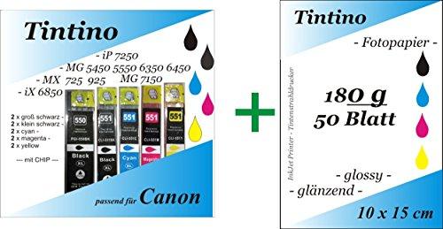 2 Set = 10 kompatible PGI 550 Cli 551 XL - 2 x bk pbk c m y - Canon Pixma iP MG MX + Chip + Füllstandsanzeige + 50 Blatt Fotokarten 10 x 15 - 180g
