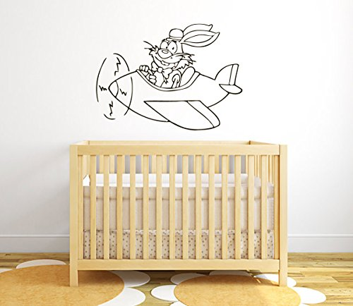 Wall Vinyl Decal Sticker Bunny Fun Flying On A Plane Art Design Nursery Room Nice Picture Decor Hall Wall Ki20 front-1077757