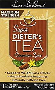 Laci Le Beau Super Dieter's Tea, Maximum Strength Cinnamon Spice, 12-Count Box (Pack of 6)
