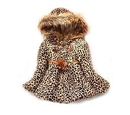 SOPO Toddler Girls Leopard Faux Fur Coat Winter Jacket 2t-5t (5t)