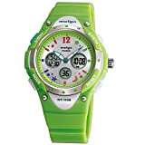 WISE® 2001ad New Arrival PAS Kids Teenage Girls Dual Time Colorful Dial Waterproof 100m Sports Casual Wrist Watches with Bling Bling Moon Star Pattern Green