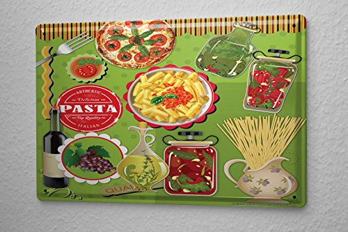 Tin Sign Food Restaurant Decoration Pizza Pasta olive oil Metal Plate 8X12 (Pizza Pasta Sign compare prices)