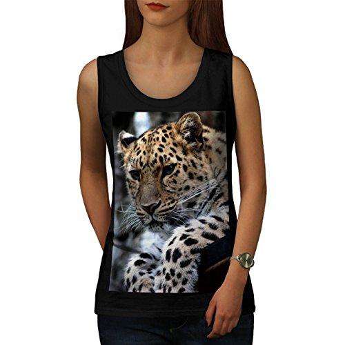 selvaggio Leopardo Guarda Pantera Da donna Nuovo Nero XXL Canotta | Wellcoda
