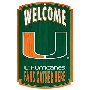 Buy NCAA Miami Hurricanes 11-by-17-InchFans Gather Here Wood Sign by WinCraft
