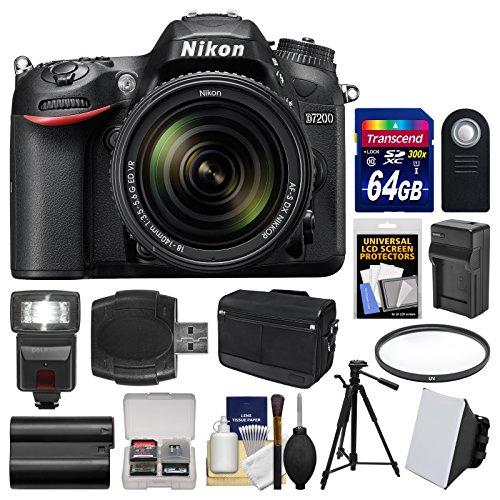 Nikon-D7200-Wi-Fi-Digital-SLR-Camera-18-140mm-VR-DX-Lens-with-64GB-Card-Case-Flash-Soft-Box-BatteryCharger-Tripod-Filter-Kit