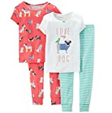 Carter's Little Girls' 4 Piece PJ Set (Toddler/Kid) - Dogs - 5T