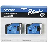 Brother P-Touch TC Tape Cartridges for P-Touch Labelers, 3/8w, White on Black, 2/Pack