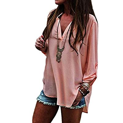 Susenstone Women Sexy Chiffon V-neck Long Sleeve Loose Blouse Casual T Shirt Tops