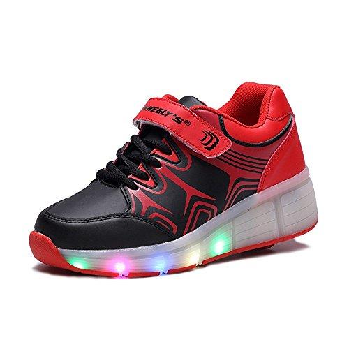 Unisex Schuhe Mit Rollen Skateboard heelys Kinder Mädchen Jungen Led Leuchtet Sohle Leuchtend Sport Turnschuhe Schwarzweiss SchwarzRosa ohne USB (38, schwarz)
