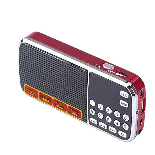Aosnow 多機能ポケットラジオ FM/AM 2バンドラジオ MP3プレーヤー 録音/音楽再生機能付きTFカード/ MicroSDカードに対応 ミニスピーカーLED内蔵 充電可能 レッド