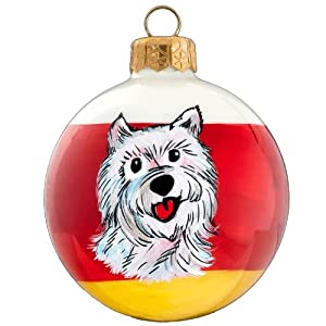"""Blown Glass Pet Set West Highland White Terrier Tailwaggers Dog Christmas Ornament - Hand Painted, 3"""" in Size, Made in Poland"""