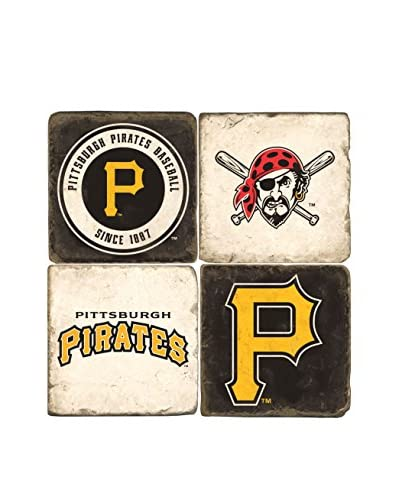 Studio Vertu Set of 4 Pirates Logoed Tumbled Marble Coasters with Stand