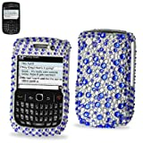 Smile Case Blue Bling Rhinestone Crystal Jeweled Snap on Full Cover Case for Blackberry Curve 8520 8530 9300 9330 (8520-Bling Blue White)