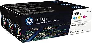 HP 305A (CF370AM) Cyan/Magenta/Yellow Original LaserJet Toner Cartridges, 3 pack