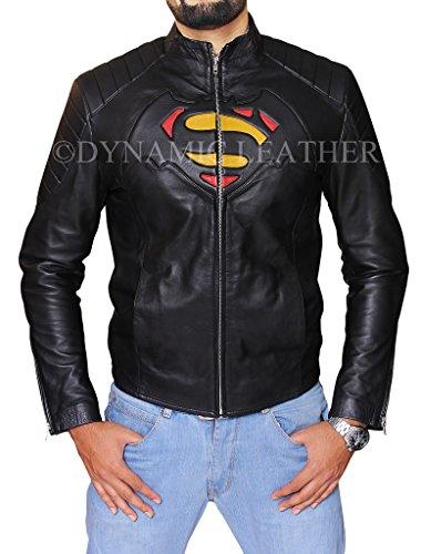 Batman Vs Superman Uomo-Dawn of Justice-Giacca da uomo in vera pelle, colore: nero nero XL