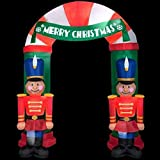 CHRISTMAS INFLATABLE 8 FT TALL NUTCRACKER ARCHWAY WITH MERRY CHRISTMAS BANNER AIRBOWN YARD PROP