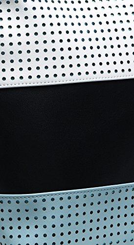 5dd7d2cbb9 Authentic BRANGIO (Italy) Three Tone Circle Laser Cut Shoulder Bag w  Adj.  Shouler Strap  TJ4106-BL