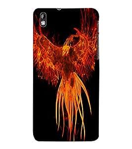 ColourCraft Flaming Eagle Design Back Case Cover for HTC DESIRE 816