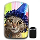 Wide Eyed Party Cat With Blue Party Hat For Amazon Kindle Fire & Kindle 3G Keyboard Soft Protection Neoprene Case Cover Sleeve Bag With Pocket which is Ideal for Headphones, Data Cable etc