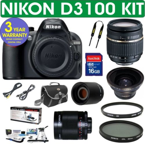 Nikon D3100 Digital Slr Camera + Tamron Af 18-250Mm Zoom Lens + .43X Wide Angle Lens + 2X Telephoto Lens + 500Mm Mirror Lens + 3 Year Celltime Warranty